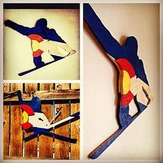Colorado Flag Snow Boarder Wood Hand Made by BowersSplinterWorks