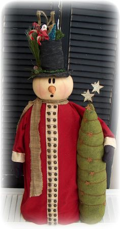 Primitive 36 Snowman Door Greeter  E Pattern by CROWINGABOUTPRIM cute made one similar with no pattern 5 yrs ago