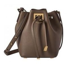 Michael Kors Elephant Tone Leather Small Miranda Bucket Bag - Off Michael Kors Sale, Small Bags, Bucket Bag, Elephant, Handbags, Shoulder Bags, Leather, Shopping
