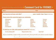 Would you like some professional feedback about your friendship performance? The new book Comment Cards for Life by Derek McCloud is here to help. [via neatorama] Previously: I Added Some Wine Recommendations to the Liquor Store by My House Personal Relationship, Liquor Store, Funny Videos, Comedians, New Books, I Laughed, Layouts, Relationships, Funny Pictures