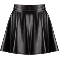 Boohoo Harlow Leather Look Full Skater Skirt (50 RON) ❤ liked on Polyvore featuring skirts, bottoms, saias, mini skirt, flared skirts, flared midi skirt, pleated skirt and skater skirt