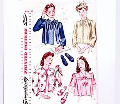 07d97ef3528de Bedjacket Pattern with Slippers Womens Size 36 inch Bust Simplicity Sewing  Pattern Fashion