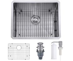 MOWA 23 Inch Undermount 16 Gauge Stainless Steel Bar Prep Kitchen Sink, Deep Laundry Sink w/Basket Strainer & Protection Grid, Upgraded w/Perfect Drainage, Commercial Handmade Sink