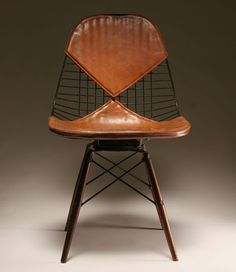 eames wire chairs leather pad interior design