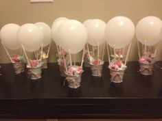 Ideas For Baby Shower Party Favors Ideas Air Balloon Idee Baby Shower, Girl Shower, Baby Shower Favors Girl, Baby Shower Balloons, Birthday Balloons, Balloon Party, Baby Party, Baby Shower Parties, Balloon Decorations