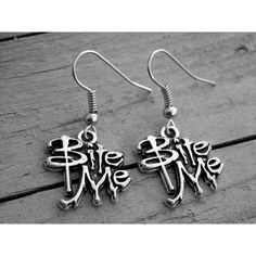 Silver Vampire Earrings Vampire Jewelry Gothic Goth Bite Me Sexy... ($24) ❤ liked on Polyvore
