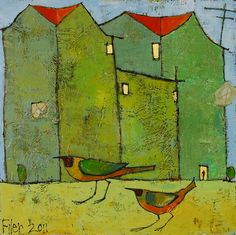 "Birds at Home 13.5""x13.5"" acrylic on panel at Matre Gallery  Image 9 of 30"