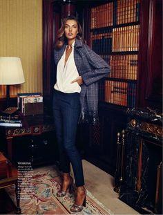 Elle Spain FW13-14///_alina xavi gordo7 Alina Baikova Wears British Inspired Style for Xavi Gordo in Elle Spain Shoot #ALFAIATARIAS #xadrezes #risca de giz