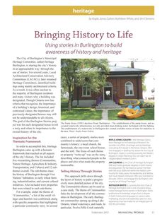 """""""Bringing History to Life: Using stories in Burlington to build awareness of history and heritage"""" By Kayla Jonas Galvin (ARA's Heritage Operations Manager), Kathleen White, and Jim Clemens. Operations Management, Conservation, Bring It On, Articles, History, Architecture, City, Building, Books"""