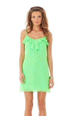 Lilly pulitzer Gianna Strappy Dress Green Silk Metallic Party Vacation Sz XS- S  #LillyPulitzer