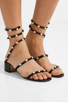 René Caovilla - Crystal And Faux Pearl-embellished Nubuck Sandals - Black
