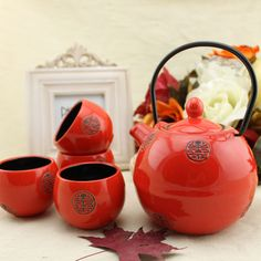 japanese ceramic tea set on sale at reasonable prices, buy Japanese style ceramic tea set (one teapot four cups) wind red set wedding gift high quality tea cup teapot drinkware from mobile site on Aliexpress Now! Chinese Tea Set, Japanese Tea Set, Japanese Style, Porcelain Dolls Value, Porcelain Dolls For Sale, Candy Pictures, Ceramics Projects, Teapots And Cups, Tea Art