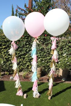 36 inch Balloon tissue paper Tassel // Pink, Gold, Ivory paper tissue tassel // Baby Shower // Weddi - Decoration For Home 36 Inch Balloons, Giant Balloons, Latex Balloons, Clear Balloons, Jumbo Balloons, Shower Bebe, Girl Shower, Baby Shower, Balloon Ribbon
