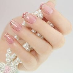 elegant pink nails with pink glitter tips