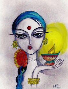 Deepavali / Diwali Indian Festival of by AKreativeMommy, Indian Festival Of Lights, Indian Festivals, Madhubani Art, Indian Art Paintings, India Art, Sketch Painting, Light Art, Fabric Painting, Folk Art