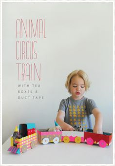 rainbowsandunicornscrafts:    DIY Animal Circus Train Made From Cardboard Boxes and Duct Tape.