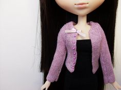 Lilac and Silver cardigan for Pullip / Momoko by SquishTish, $9.80 great to coordinate with that Lolita dress! #Doll #Pullip #Obitsu #Momoko #Blythe #J-Doll #Clothes #Cardigan #Fashion