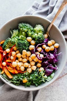 Broccoli & Chickpea Rainbow Power Bowls! Vegan, vegetarian, gluten free, and grain free. Under 30 minutes and super easy to make!