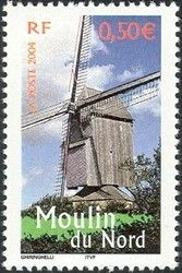 Sello: Mill of the North (Francia) (Portrait of region: France to see) Yt:FR 3706,Mi:FR 3854