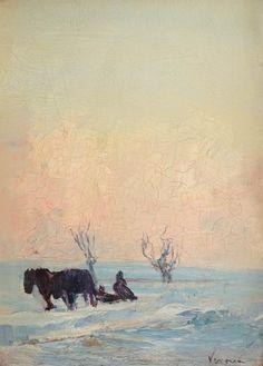 Arthur  Verona - Sanie cu zurgălăi Painting Snow, Verona, Sculpture Painting, Great Paintings, Winter Landscape, Academia, Art Boards, Roman, Sculptures