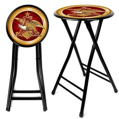 Trademark Commerce AB2400-AE Anheuser Busch A & Eagle 24 Inch Cushioned Stool - Black