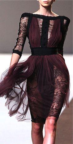 Elie Saab. short lace dress  dark purple