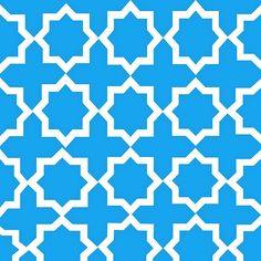 Blue and White Lattice Pattern:Saundramylesart