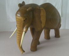 Vintage Large Wood Carved Elephant by myheartsweets on Etsy, $32.59
