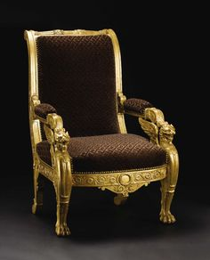 An Italian Neoclassical Giltwood Armchair. Unknown maker, Italian.Circa 1800-1830. Carved and gilded wood, upholstery.