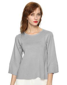 #AdoreWe #VIPme Sweaters & Cardigans - yixuanman Trumpet Half Sleeve Grey Ligth Weight Sweater - AdoreWe.com