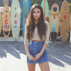 // Pinterest @esib123 //  #style #inspo #fashion denim skirt and crop top