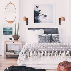 21 creative bedroom decorating ideas to try at home. The experts at domino magazine share 21 bedroom decorating ideas for anyone looking for creative, unique ways to decorate their bedroom. Dream Bedroom, Home Bedroom, Master Bedroom, Bedroom Decor, Bedroom Ideas, Bedroom Designs, Bedroom Inspiration, Bedroom Sconces, Bedroom Size