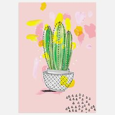 Inspire a delightful desert-chic look in any room with the lively colours and modern artistry in the Cactus Print Art from Americanflat. Cactus Painting, Cactus Wall Art, Painting Prints, Canvas Prints, Art Prints, Frames On Wall, Framed Wall Art, Green Cactus, Cactus Cactus