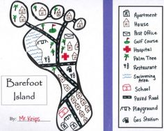 Barefoot Island - Mapping Symbols Created for student in grade, Barefoot Island is a fun, engaging project to help reinforce mapping skills. Students create their own legend. Teaching Maps, Teaching Geography, Student Teaching, Teaching Science, Social Science, Life Science, Map Activities, Social Studies Activities, Teaching Social Studies
