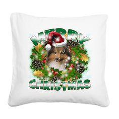 MerryChristmas Sheltie Square Canvas Pillow on CafePress.com