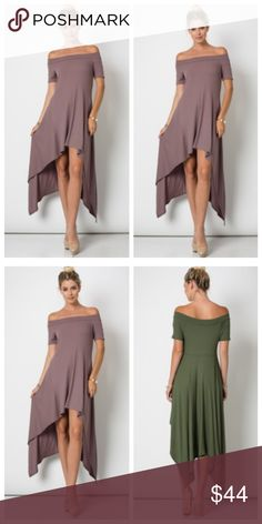 Gorgeous high low dress Beautiful rich mauve color off the shoulder high low knit rayon/spandex knit ribbed dress PLEASE USE Poshmark new option you can purchase and it will give you the option to pick the size you want ( all sizes are available) BUNDLE And SAVE 10% ( sizes updated daily ) Dresses
