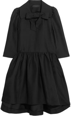 Co - Pussy-bow Woven Dress - Black Details: This pussy-bow dress is crafted from a crisp blend of wool, cotton, silk and cashmere, has cropped bell sleeves and is finished with a voluminous skirt.