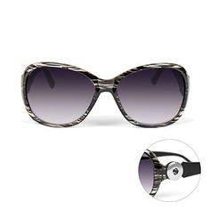 Black/Clear Sunglasses from GingerSnapsJewelry.com ... you can change the temple accessory to match your outfit/mood/season ... cute!  $21.95   Snaps are about $7 each