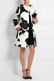 Floral-print cotton-blend jacquard coat