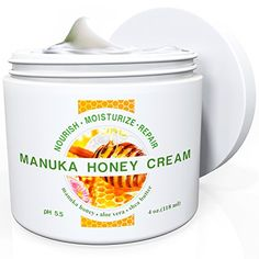 Natural Moisturizer Skin Cream By Wild Naturals - With Manuka Honey and Aloe Vera - Very Light, Non-greasy, Absorbs Quickly - All the Nutrients Your Skin Needs - For All Skin Types - Relieves Dry, Red, Irritated, Itchy & Cracked Skin - Natural Psoriasis T