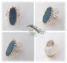 Opal in Sterling Silver.  Original Opal ring set into a new wrap.  Commission.