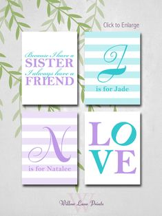 personalized sisters bedroom art because I by WillowLanePrints, $30.00