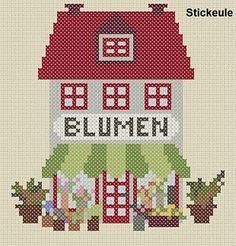 Flower shop cross stitch pattern