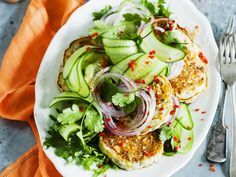 Corn fritters with cucumber salad, corn recipe, brought to you by Australian Women's Weekly