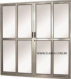 PORTA DE ALUMINIO DE CORRER BRILHANTE 160 X 210 4FLS ( 2 FIXAS, 2 CORRE) - AJR - ENTREGA 30 DIAS
