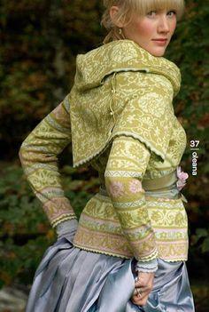 Oleana - Solveig Hisdal - Norwegian Sweaters Cardigan Knit - www. Motif Fair Isle, Fair Isle Pattern, Folk Fashion, Knit Fashion, Fairytale Fashion, Scandinavian Fashion, Fair Isle Knitting, Sweater Making, European Fashion
