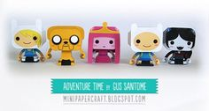 Adventure Time mini dolls | Free Downloadable Printable: Paper toys, Origami, birthday cards, models, crafts, holiday decorations, coloring. Printable Freebies, paper and crafts