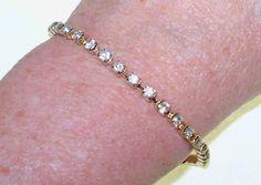 Tennis Bracelet Clear Rhinestones Gold Tone Vintage Jewelry Jewellery Wedding Cottage Chic Waldorf Gift Guide Women