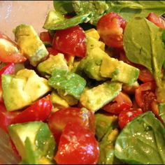 Avocado, tomato and spinach salad with Art of Oil's Sicilian lemon balsamic vinegar and our black truffle salt. Black Truffle Salt, Truffle Oil, Appetizer Recipes, Dessert Recipes, Appetizers, Desserts, Good Food, Yummy Food, Tasty