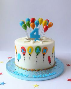 Birthday Balloons by Karen's Cakes Birthday Cake For Brother, Blue Birthday Cakes, Birthday Balloons, Chocolate Birthday Cake Decoration, Cake Designs For Kids, Bithday Cake, Puppy Cake, Balloon Cake, Crazy Cakes
